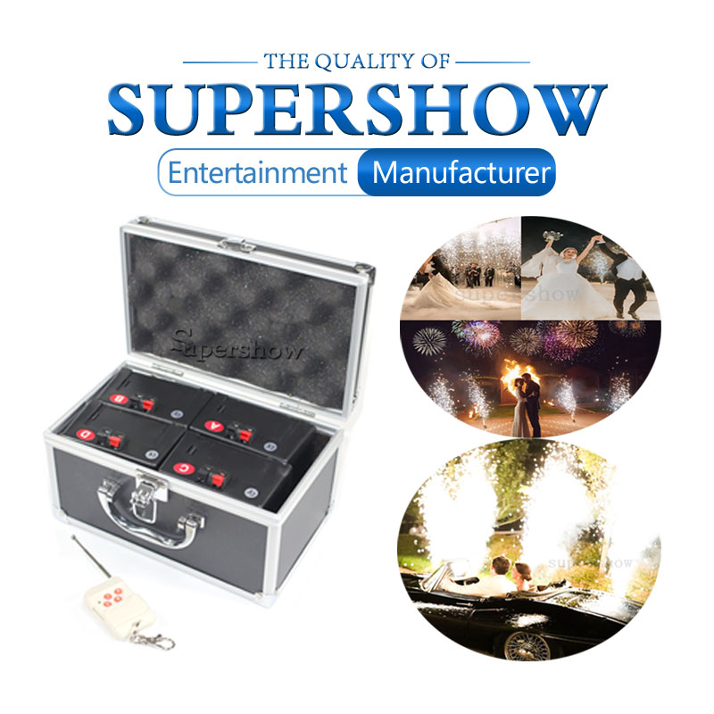 Free Shipping D04 Wireless Remote 4 Cues Receivers Stage Firework Fountain System 1 Case 4 Base Firing System For Wedding Party