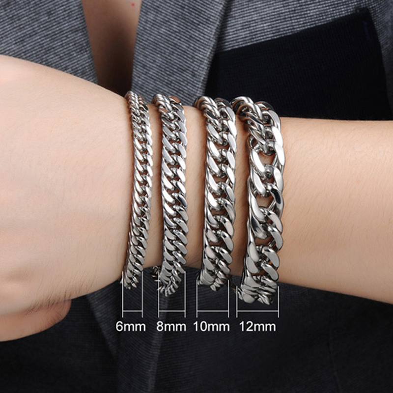 Fashion Double Curb Cuban Chain Bracelet Men Stainless Steel Wristbands In Silver Color Male Accessories 7 10 inch in Chain Link Bracelets from Jewelry Accessories
