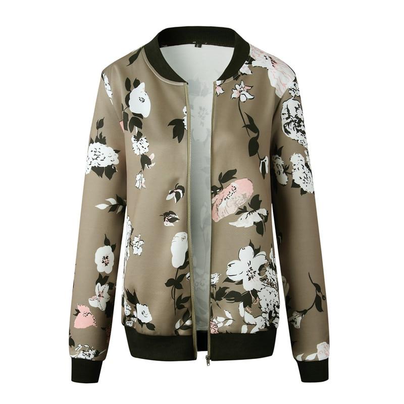 Women's Jackets Retro Floral Printed Ladies Zipper Up Bomber Outwear Autumn Long sleeve Short Thin Slim Casual Pocket Biker coats 5