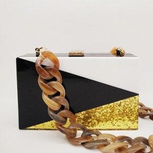 Image 4 - Bolso de mano con lentejuelas doradas y acrílicas para mujer, cartera tipo mensajero, con entramado geométrico, para noche, fiesta, negro y blanco
