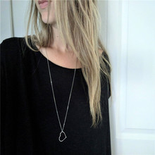Women Hollow Heart Necklace Pendant Long Chain Shape Jewelry Valentines Day Present
