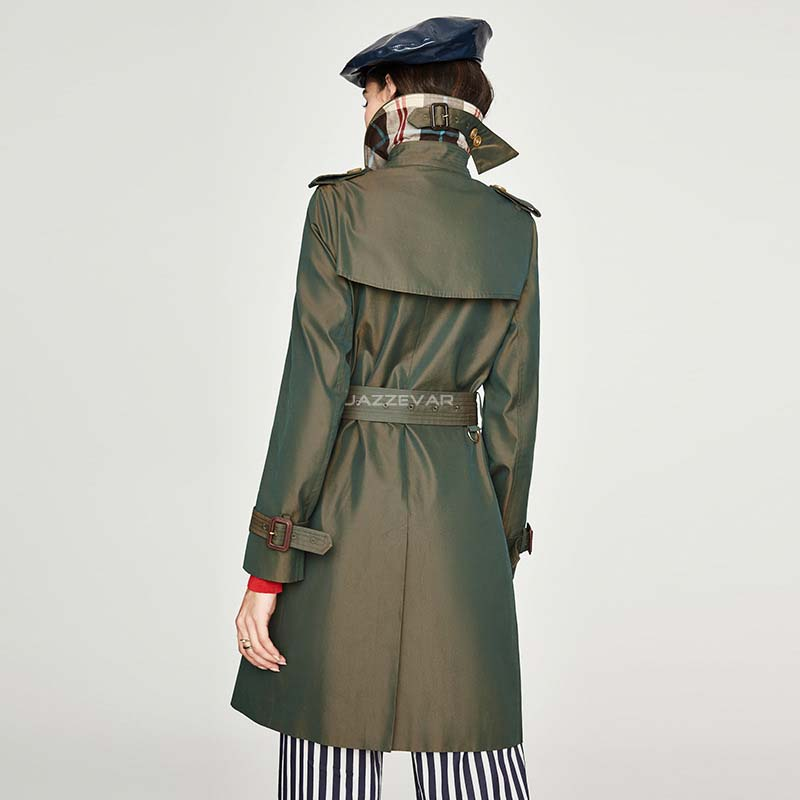 Windbreaker Korean version Women waitmore Original design color chameleon Double breasted Over knee Long Trench Coat Female in Trench from Women 39 s Clothing