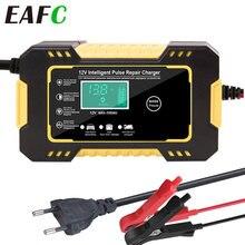 Chargeur de batterie de voiture 12V 6A, réparation d'impulsions, écran tactile LCD pour Moto, charge rapide, humide, sec, plomb acide, affichage numérique LCD