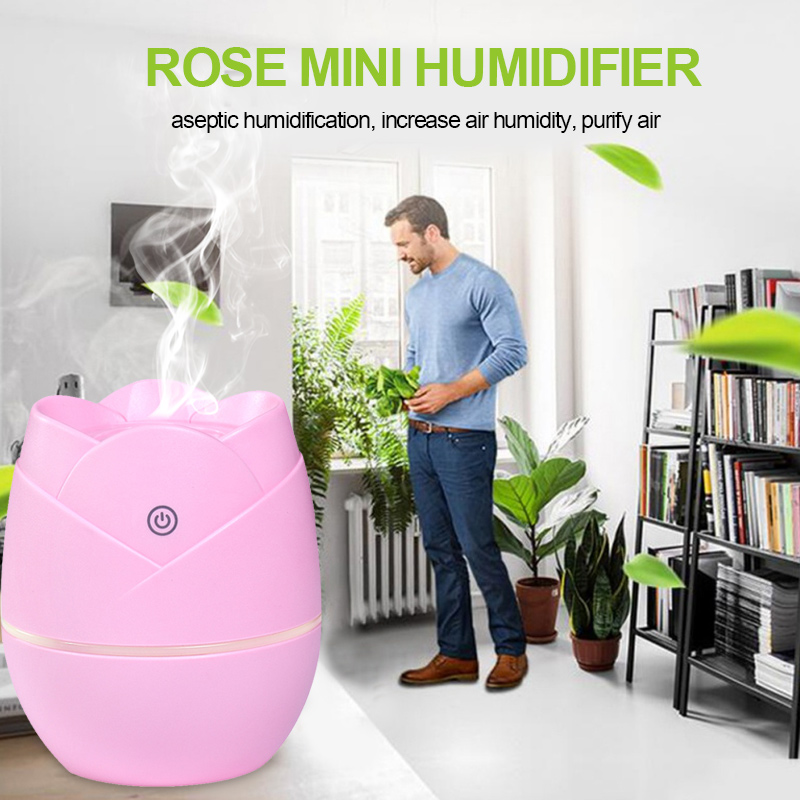 Air Diffuser Purifier Humidifier Aroma Diffuser Aromatherapy Creative Portable 80ml USB for Rose Shape Atomizer Indoor Yoga SPA