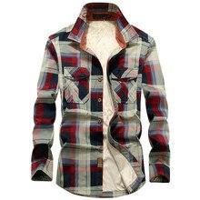 Зимняя клетчатая флисовая рубашка для мужчин, 100% хлопок, повседневные рубашки с длинными рукавами, верхняя одежда, плотная теплая Осенняя рубашка Chemise Homme, 2020