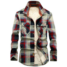 2020 Winter Plaid Fleece Shirt Men 100% Cotton Liner Casual Long Sleeve Shirts Outerwear Thick Warm Autumn Shirt Chemise Homme