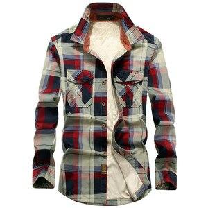 Image 1 - 2020 Winter Plaid Fleece Shirt Men 100% Cotton Liner Casual Long Sleeve Shirts Outerwear Thick Warm Autumn Shirt Chemise Homme