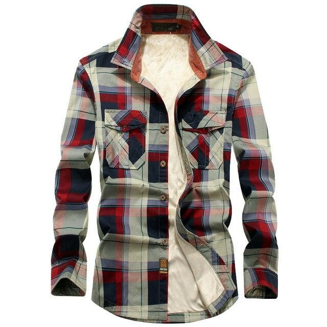 2020 Winter Plaid Fleece Shirt Men 100% Cotton Liner Casual Long Sleeve Shirts Outerwear Thick Warm Autumn Shirt Chemise Homme
