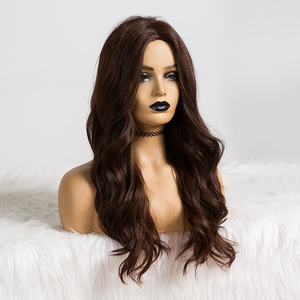 Image 4 - ALAN EATON Long Dark Brown Wavy Wigs Cosplay Natural Synthetic Wigs for Black Women Heat Resistant Hair Wigs Middle Part 24