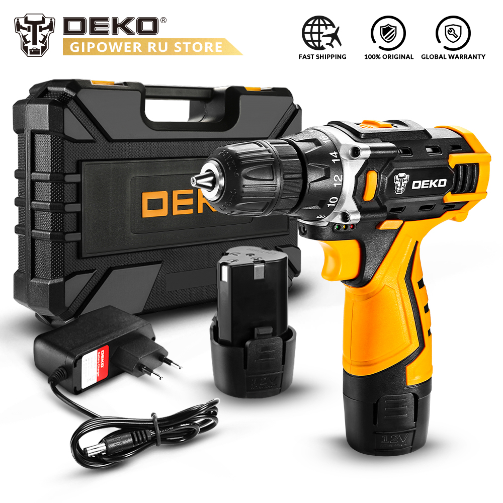 DEKO New Banger 12V Cordless Drill with Lithium Battery LED Light Mini Wireless Power Driver DC Electric Screwdriver Power Tool