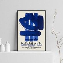 Toile de peinture de Pierre Soulages, affiche d'exposition de musée, impressions murales d'art pour la décoration de la maison
