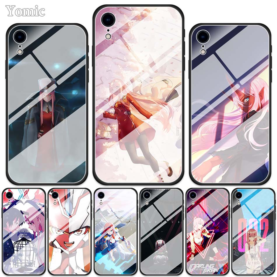 FranXX Zero Two Tempered Glass Cases for Apple iPhone XR 7 8 6 6S Plus X XS MAX Soft Edge Phone Cover Shell