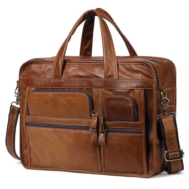 Мужская деловая сумка из натуральной кожи, мужские кожаные сумки, большие мужские сумки мессенджеры из воловьей кожи, мужская сумка на молн
