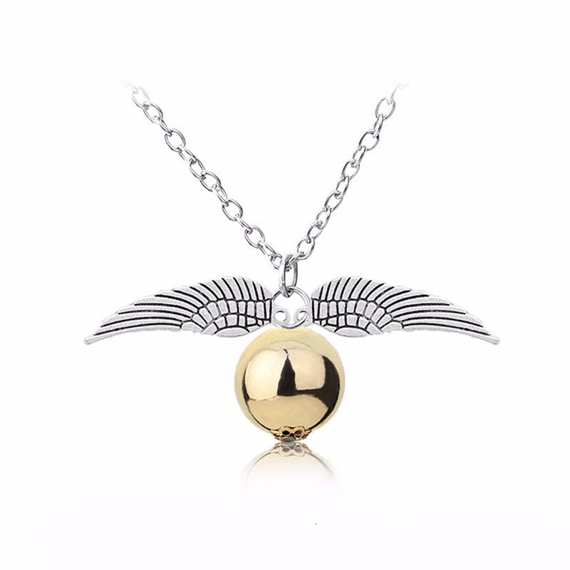 Golden Wings Snitch Necklace <font><b>Deathly</b></font> Hallows Potter Cosplay HP Vintage Style Pendants Necklace Movie Jewelry image