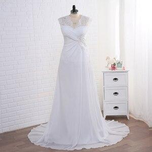 Image 1 - Jiayigong מניית שמלות כלה בתוספת גודל שווי שרוול Applique נשים חוף כלה שמלות שיפון Vestido דה Noiva כלה שמלות