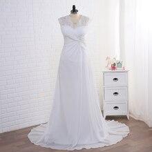 Jiayigong Stock Wedding Dress Plus Size Cap Sleeve Applique Women Beach Bridal Gowns Chiffon Vestido De Noiva Bride Dresses