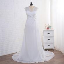 Jiayigong 証券ウェディングドレスプラスサイズのキャップスリーブアップリケ女性ビーチブライダルガウンシフォン vestido デ noiva 花嫁ドレス
