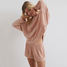 Вязаный хлопковый комплект из двух предметов свитер женский