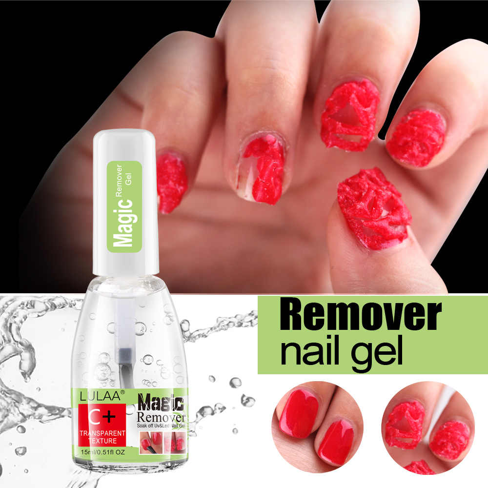 LULAA 15Mlเล็บเจลระเบิดMagic Nail Polish Remover Fast Soak OffเจลUV Gelเล็บLint-ฟรีDegreaser Cleaner TSLM1