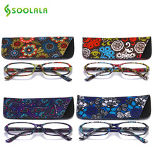 SOOLALA 25pcs Rectangular Floral Printed Reading Glasses  With Case Womens Spring Hinge Glasses+1.0 to 4.0 Wholesale