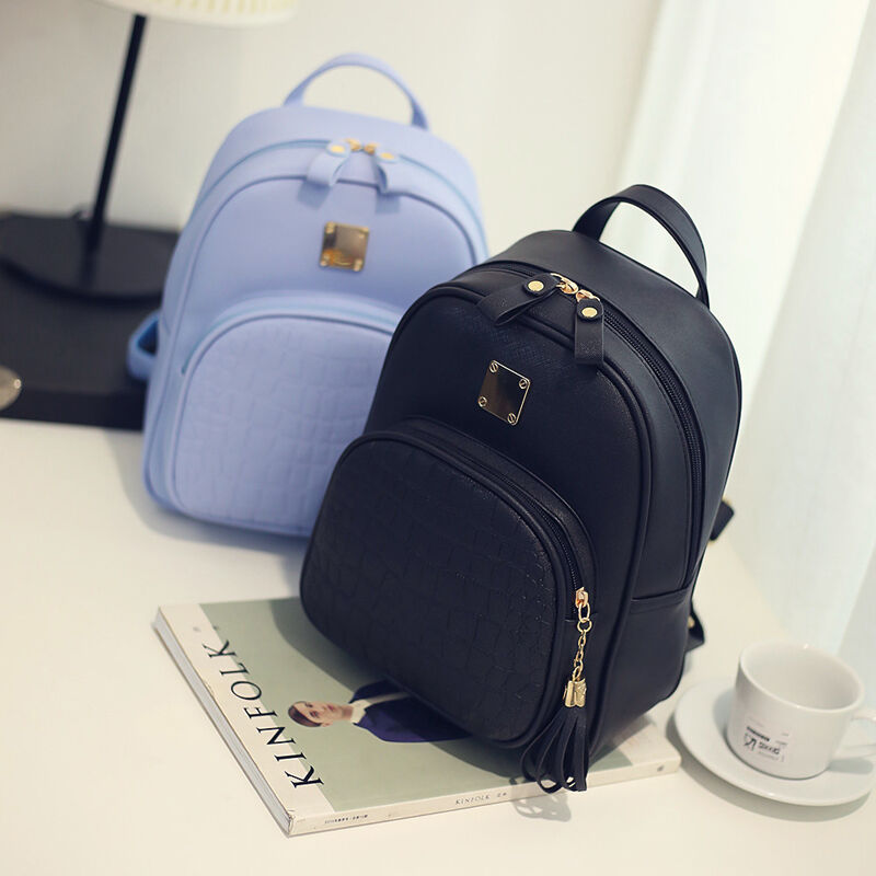 2019 Brand New Style Fashion Women Girls Faux Leather Backpack Rucksack School Bag Travel Bag 1Pc Hot Sale