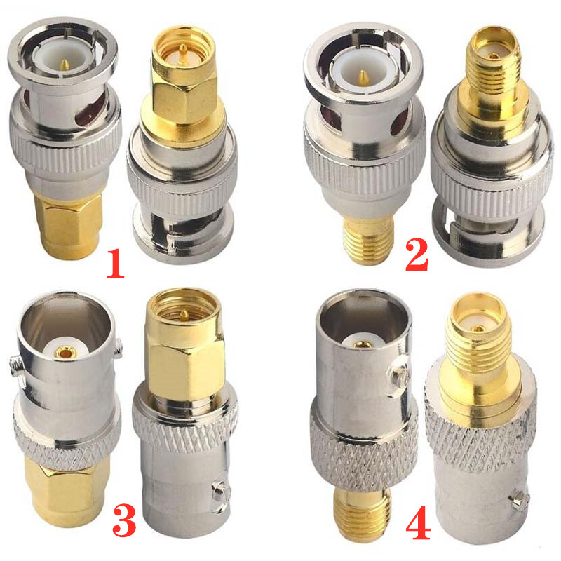JX Connector 2pcs RF Adapter BNC-SMA BNC Male Jack Nickel Plating To SMA Female Plug Gold Plating Jack RF Connector Straight