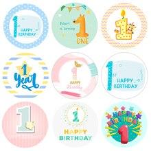 1 год, наклейки на день рождения для мальчиков и девочек, украшения для первого дня рождения, синий, розовый, набор для вечеринки в честь буду...