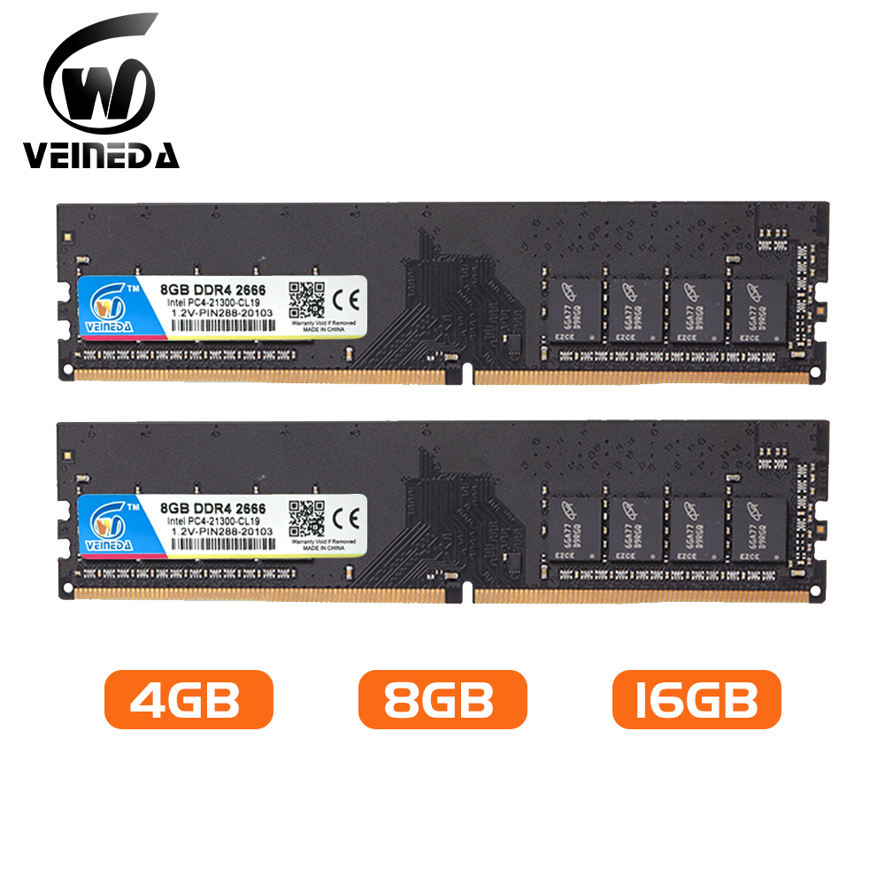 VEINED Pc Ram Ddr4 4g 8gb 2133 2400 2666 Mhz 1.2v Dual Channel Motherboard Ddr 4 Dimm Memory Compatible All Intel AMD Desktop