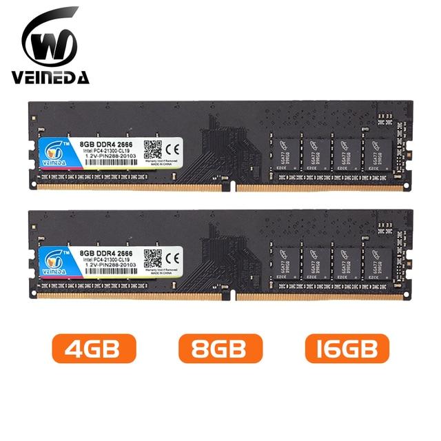 Veted الكمبيوتر ram ddr4 4g 8gb 2133 2400 2666 mhz 1.2v ثنائي القناة اللوحة الأم ddr 4 dimm ذاكرة متوافقة مع جميع إنتل AMD سطح المكتب