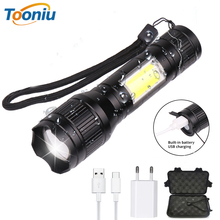 MINI USB Rechargeable LED Flashlight T6 + COB 3 lighting modes Torch Support zoom Side lamp Suitable for camping,etc.