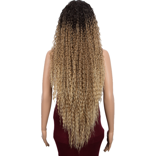 Synthetic Lace Front Wigs For Women 38 Inch Ombre Black Brown Curly Wigs With Baby Hair Heat Resistant Cosplay Wigs Classic Plus