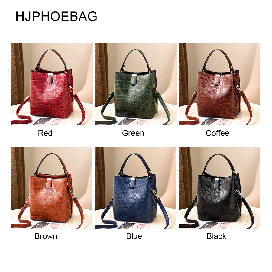 HJPHOEBAG fashion Crocodile Crossbody Bag For Women Shoulder Bag Designer Women Bags Luxury PU Leather Bag Bucket Handbag YC254