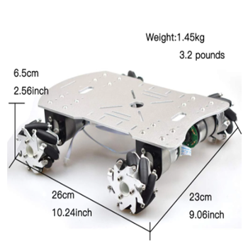 40KG Load Suspension Mecanum Wheel Robot Car Chassis Platform with 4pcs 24V Motor Arduino Controller ROS Project