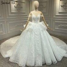 High end יוקרה בציר שנהב O צוואר חתונת שמלות 2020 קצר שרוולים ואגלי פאייטים הכלה שמלות HA2330 תפור לפי מידה
