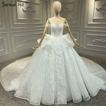 Wysokiej klasy luksusowe Vintage Ivory O Neck suknie ślubne 2020 krótkie rękawy frezowanie cekiny suknie panny młodej HA2330 Custom Made