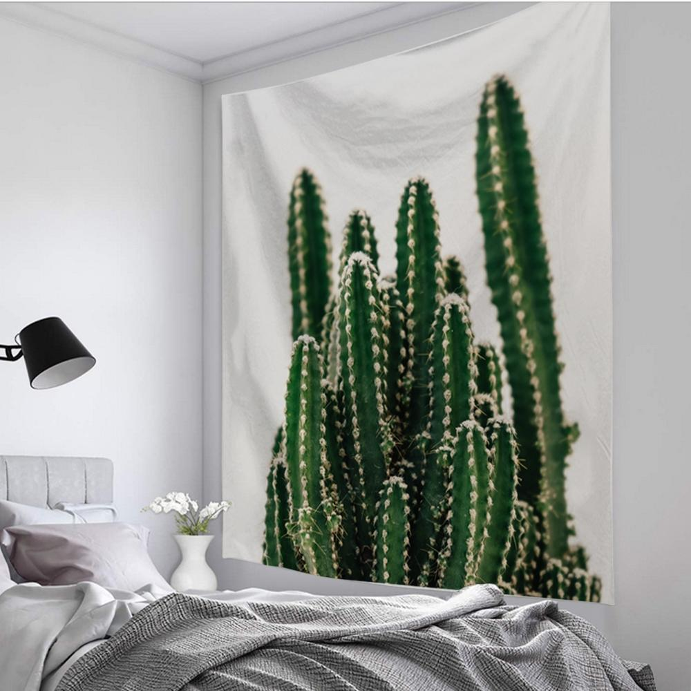 Natural Sunflower Cactus Forest Tapestry Hippie Mandala Wall Hanging Bedroom Polyester Travel Camping Psychedelic Tablecloth