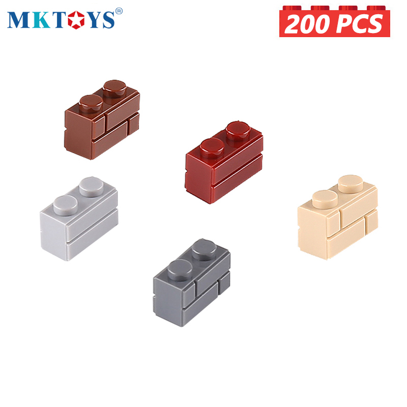 MKTOYS 1x2 Dots Wall Bricks 200PCS MOC Building Blocks DIY Constructor Castle City Creator Gifts Toys for Boys Girls Children