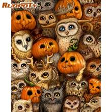 RUOPOTY Owl Family Animal Oil Painting By Numbers Diy Framed Paints By Number Kits Framed On Canvas For Adults DIY Gift Wall Art(China)