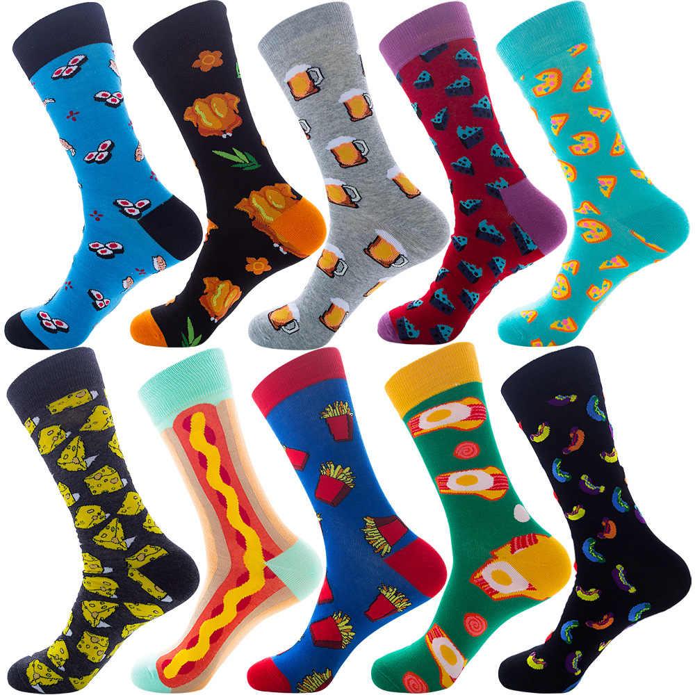 ขนาดใหญ่ที่มีสีสันถุงเท้าผ้าฝ้ายลายChristmas Dotสัตว์ผลไม้อาหารแฟชั่นฤดูหนาวลูกเรือถุงเท้าตลกถุงเท้าผู้ชาย