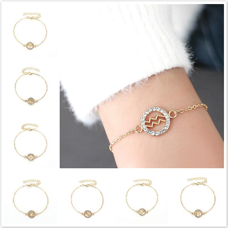 1 шт Сияющий ID браслет Золотые двенадцать созвездий браслет Стиль ID браслеты для женщин ювелирные изделия Регулируемые