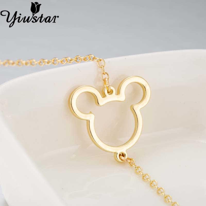 Yiustar Punk Mickey pulsera para mujer Aniaml brazaletes de ratón y brazaletes de acero inoxidable encanto pulsera joyería chica chico pulseras