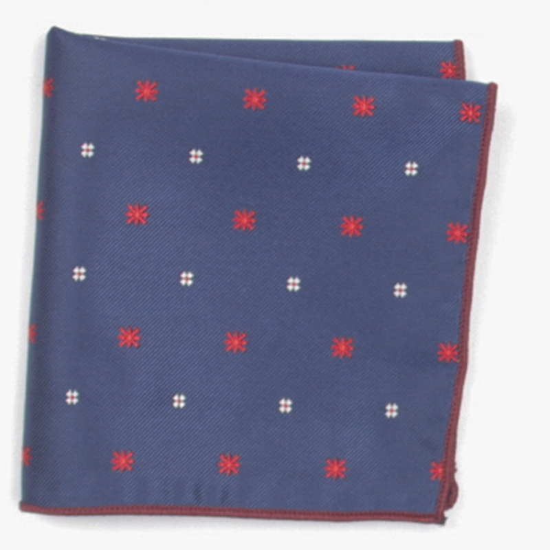 Dark Blue Red Dot Patterned Pocket Square With Patterns Handkerchief