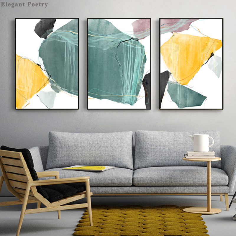 Irregular Geometry Color Block Abstract Picture Canvas Poster Wall Art Print Nordic Painting Modern Home Living Room Decoration