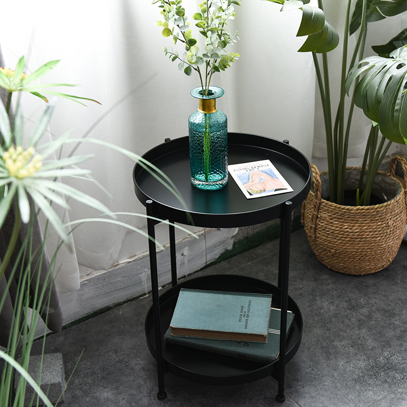 Nordic Simple Iron Double-layer Small Tea Table Corners Round Coffee Table Lving Room Mini Sofa Side Table