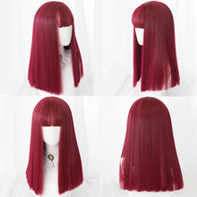 AILIADE Synthetic Wigs With Bangs Red 22inches Straight Heat Resistant Medium Length Cosplay Wigs For Festival Party Lolita