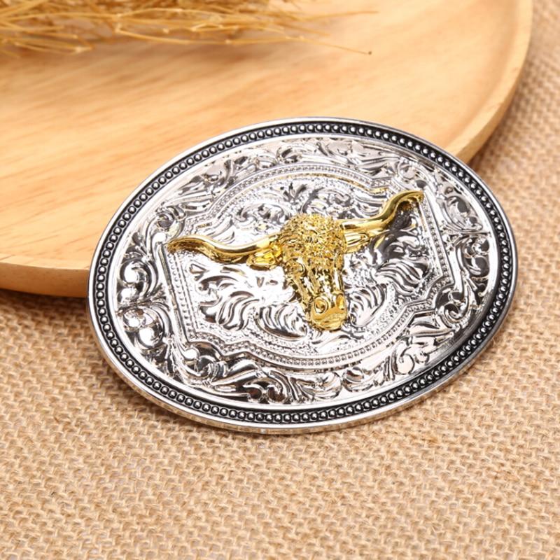 Vintage Hip Hop Belt With Metal Buckle Long Horn Bull Eagle Western Belt Buckle Golden Texas Cowboy Western Buckles