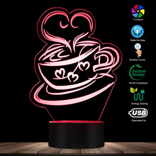 Coffee Cup 3D Optical Illusion Night Light Novelty LED Night Lamp Touch Control Acrylic Engraved Gift 7 Color Change Desk Decor