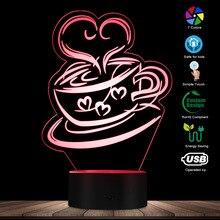 Kahve fincanı 3D optik Illusion gece lambası yenilik LED gece lambası dokunmatik kontrol akrilik kazınmış hediye 7 renk değişimi masa dekoru