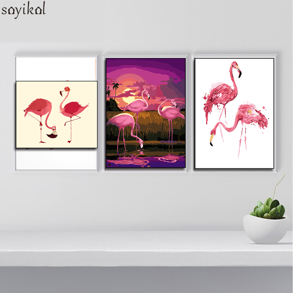 DIY Oil Painting By Numbers Flamingo Pink Hand Painted Canvas Wall Picture Art Animal Modern DIY Paint Wedding Decoration Art