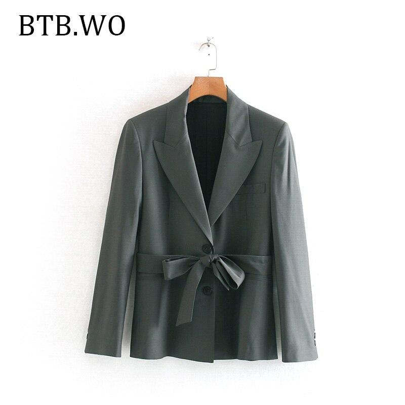 BTB.WO 2019 New Women Ladies Long Sleeve Cardigan Slim Outwear Adjustable waist Office Ladies fashion Casual Suit Coat